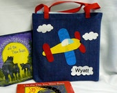 Kids Airplane Tote Bag|Children Book Bag|Airplane Birthday Party Gift Bag|Personalized Boys Tote Bag|Toddler Preschool Book Bag|Kid Book Bag