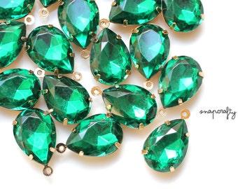 6pc emerald rhinestone charms / 18x13mm green gem teardrop charms / gold tone one-loop settings / set stones / gemstone charm