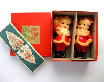Vintage Santa Claus Gurley, Tavern Candles in Original Box with Paper Advertisement