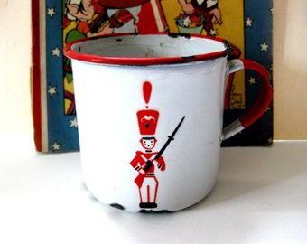 Vintage Child's Enamel Handled Cup with Soldier, Shabby, Worn, for Display, Made in Sweden