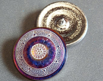 Large Purple Vitrail with White Fans 36mm Glass Round Button with Metal Shank (1)