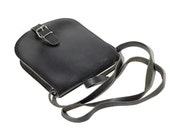 Vintage Black Leather Cross- Body Bag