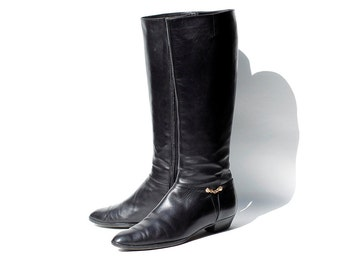 size 8.5 Italian Black Leather Tall Boots