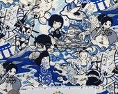 ANIME GEISHA BLUE Ocean Cotton Quilt Fabric Yard Fq Comic Graphic Japanese Kawaii Geishas Asian Manga Tokyo Japan Harajuku Girls Dragon Bird
