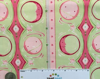 SALE Fm-06 MOON & PLANET Stripe Pink Celery Green Gray White Felicity Miller Sun Moon Collection Cotton Quilt Dress Fabric by the Yard