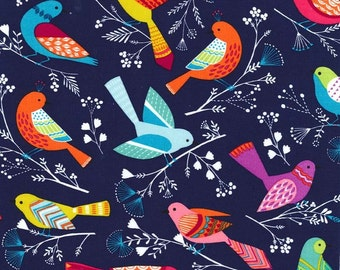 FLOCK Navy Blue Bird Birds Cotton Quilt Fabric - by the Yard, half Yard, or Fat Quarter Colorful