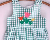 Vintage toddler girl shorts romper 2t green and white