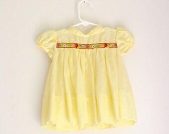 Vintage girls dress 6 months C.I. Castro yellow summer dress