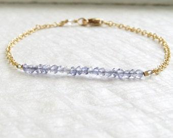 September Birthday Gift • Iolite Bracelet • Water Sapphire • Iolite Gemstone • September Birthstone • Simple Bracelet