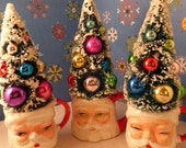 3 Fun Whimsical Vintages Santa Mugs Bottle Brush Trees Centerpiece