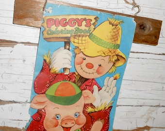 Vintage Piggy's Coloring Book Page Wall Display, Vintage Fall Decor