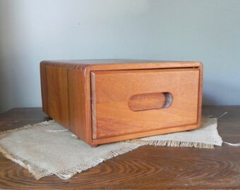 Vintage teak storage drawer unit drawer has divided sections wood wooden