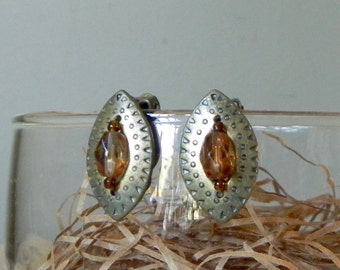 Vintage victorian edwardian style bronze metal tear drop shape earrings with center brown stone clip on earrings
