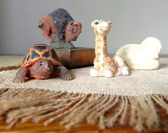 Vintage sandcastle animals collectible figurines turtle tortoise giraffe buffalo duck chick