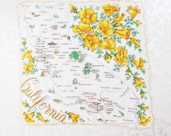 Vintage State Hankie California Map Handkerchief Gold Poppy Hanky