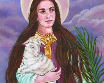 "St. Agnes Virgin Martyr with Lamb Original, OOAK Acrylic Painting, 16"" X 20"" Catholic Art, signed"