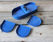 Georges Briard Blue Lacquered  Coasters & Caddy
