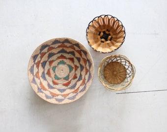 Trio of Boho Vintage Straw Wall Basket Weavings