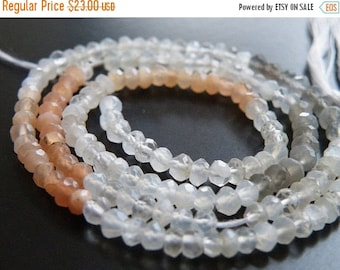 Clearance SALE Moonstone Gemstone Rondelle AAA Multi Faceted 3.5mm Full Strand 120 beads