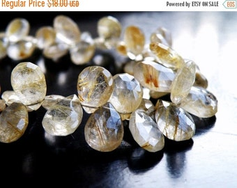 Clearance SALE Rutilated Quartz Gemstone Briolette Golden Faceted Pear Teardrop 12.5 to 13mm 5 beads
