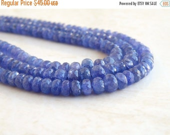 Clearance SALE Outstanding Tanzanite Gemstone Faceted Rondelle Periwinkle Blue 5 to 5.5mm 30 beads
