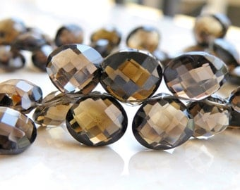 Smoky Quartz Gemstone Briolette Checkerboard Faceted Heart 13 to 14mm 3 beads