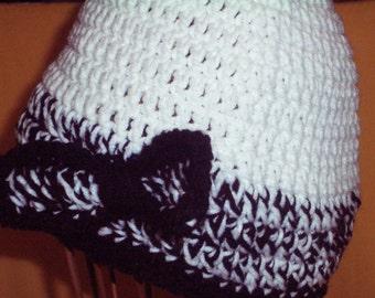 White Crocheted Beanie With Black Trim, Womens Beanie With Bow Trim, Black and White Hat, Womens Winter Hat