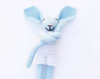 Blue bunny rabbit, baby boy, bunny baby toy, new baby gift, knitted bunny rabbit, soft toys, knitted toys, crib toys, baby shower gift