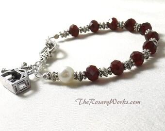 Manger Scene Rosary Bracelet Chaplet Single Decade Red Christmas Nativity St Therese Miraculous Medal Single Decade Prayer Beads