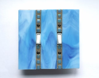 Blue Wall Plate, Stained Glass Switchplate, Double Toggle, Dimmer Switch, Stained Glass Art, Light Switch Cover, Wall Switch Plate, 8412