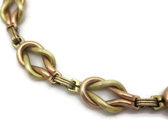 Two-Tone Gold Necklace - Yellow and Rose Gold 12kt Gold Fill on Sterling Silver, Knot Interlocking Chain