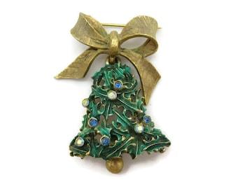 Christmas Jewelry - Christmas Brooch, Holly Bell, Rhinestones Holiday Costume Jewelry, Mylu
