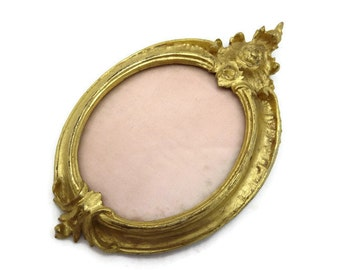 Gilt Wood Picture Frame - Miniature, Carved, Wall Hanging