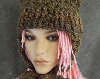 Crochet Hat,Kitty Kat Hat,Cat Hat,Elfin Wear,Accessory,Hats, Bucket Hat,Women,Ear flap Hat,Winter Hat,Brown Hat,OOAK