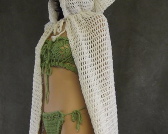 White Crochet Cape, Oversized Hood,Women, Cotton, Extra Long, Clothing, Beachwear, Poolside, Beach Coverup