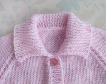 PREMATURE / SMALL NEWBORN Baby Girl Sweater - 5 to 11 lb (up to around age 2 months) - pink baby yarn with tiny flecks of dark pink and blue