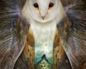 ON SALE Owl, Mountain, Moon Print -- mysterious owl decor, owl baby shower, woodland nursery wall art, fairytale art, brown - by Meluseena