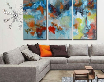 Large original art on canvas,  blue and white large painting, blue abstract, acrylic painting, huge triptych, huge three panels