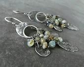 Rustic Earrings, OOAK Jewelry, Artisan Earrings, Handmade Earrings, Sterling Silver Jewelry, Gemstone Earrings.