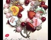 Valentine Jewelry - Valentines Day Jewelry - Valentine Bracelet - Valentines Day Bracelet - Valentine Necklace - Candy Heart Charm Bracelet