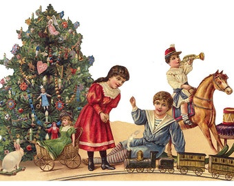 Victorian Christmas Tree Scrap Made In Germany Large Lithograph Die Cut Christmas  5180