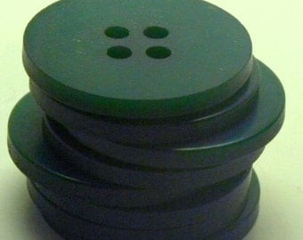 Set of Eight 8 Large Forest GREEN BAKELITE  BUTTONS  1 1/8 inch 27mm Diameter Four Hole Sew Thru