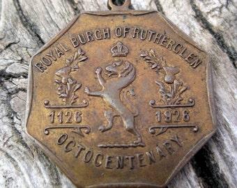 Vintage Royal Burch of Rutherglen Octocentenary 1926 Fob medal copper metal 2 sided medal