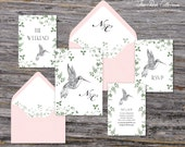 Secret Garden Wedding Invitation (Hummingbird, Ivy and Sage Green with Your Pick of Envelopes) - Park Collection Sample