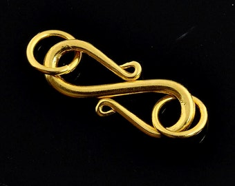 6.5mmx13.5mm 18k Solid Gold S Hook Clasp Finding