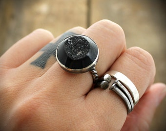 READY TO SHIP - Sterling Black Druzy Cocktail Ring -  Size 6