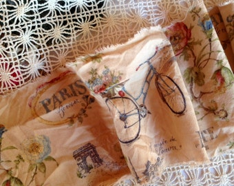 "Limited Supply - PARIS FOREVER - VINTAGE Paris Bicycles  - Lovely French Script - Eiffel Tower - Paris Street Address -  Extra Wide 6"" -"