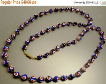 Vintage Millefiori Glass Bead Necklace Red White & Blue