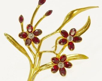 Vintage Red Rhinestone Flower Brooch