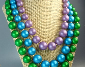 Vintage Triple Strand Beaded Necklace Big Bold Colors Statement Jewelry